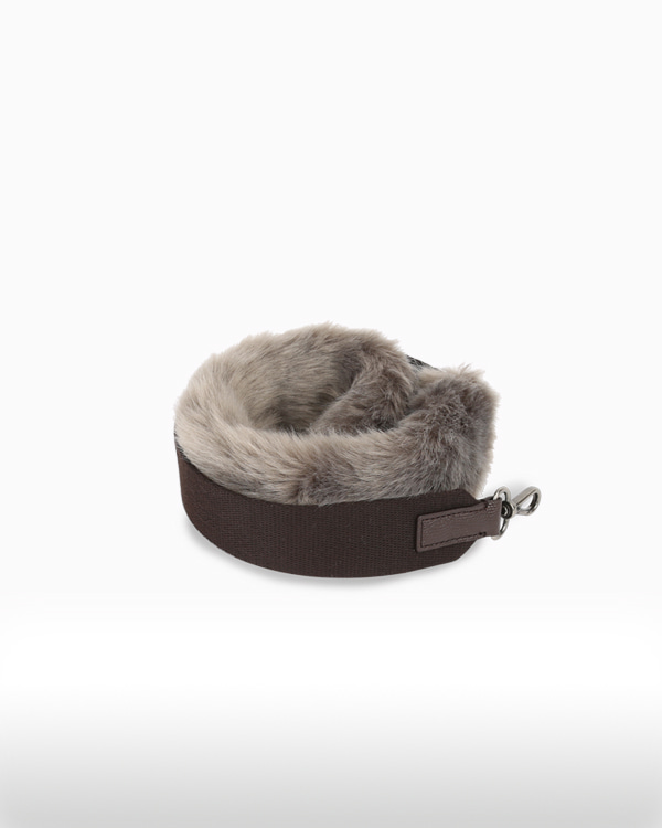 BOHEMIAN FUR STRAPSMOKY GRAY[★ Enjoy Mix & Match with Meeori Bag ★]